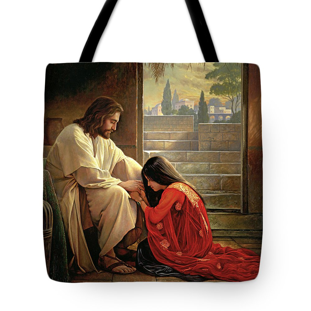 Jesus Tote Bag featuring the painting Forgiven by Greg Olsen