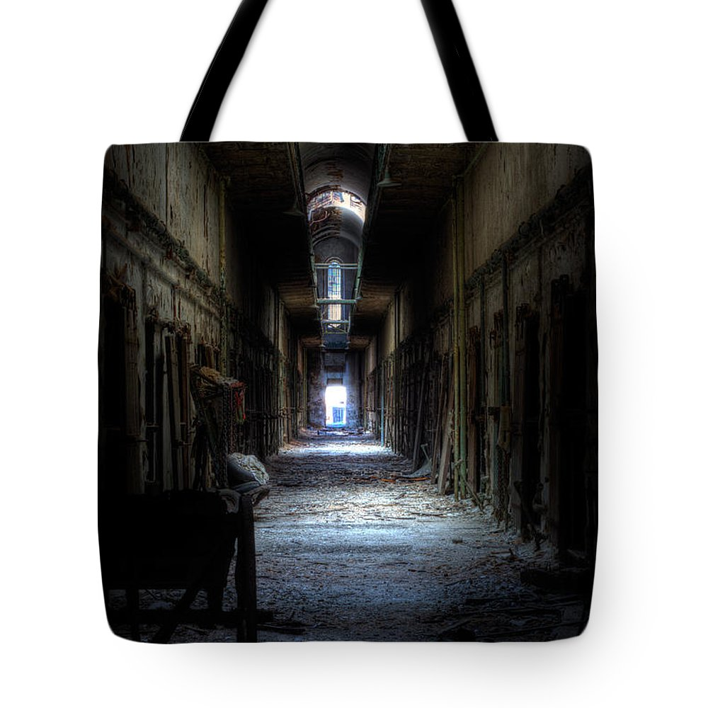 Eastern State Tote Bag featuring the photograph Forgotten Times by Scott Wyatt