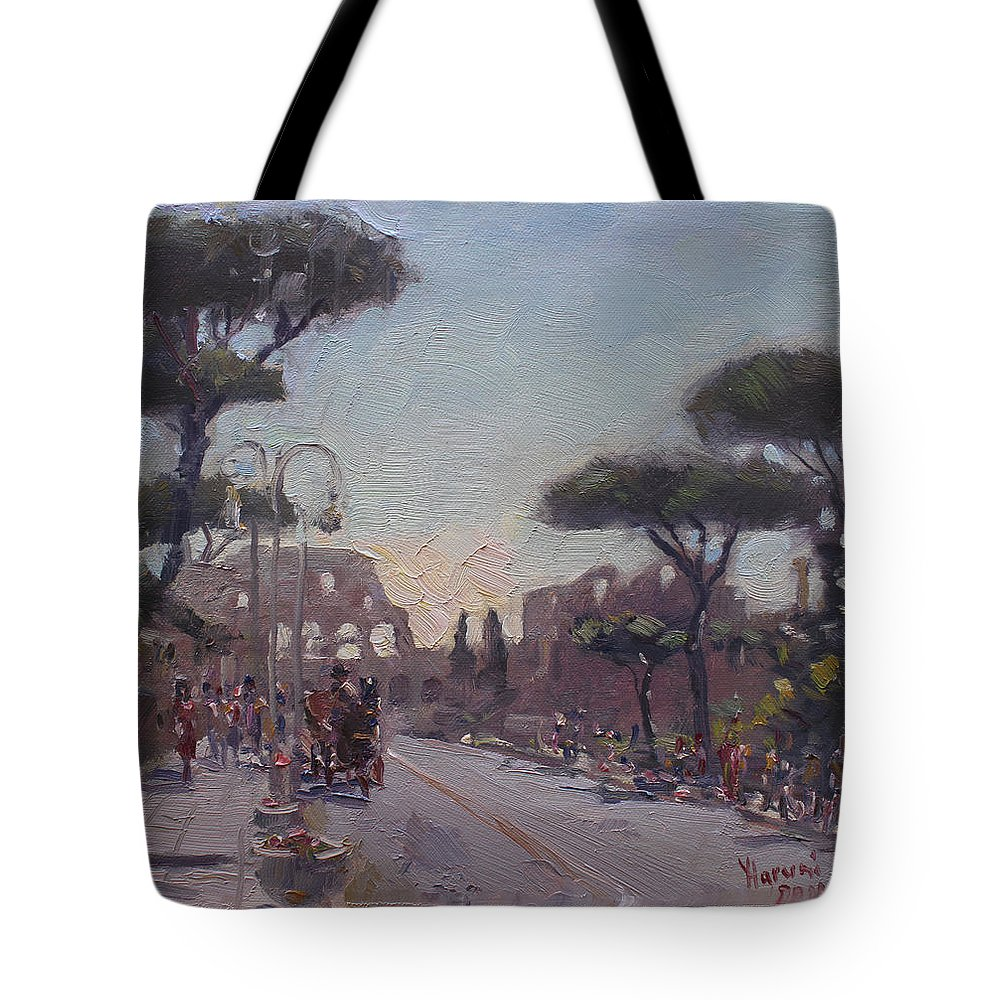 Fori Romani Tote Bag featuring the painting Fori Romani - Street To Colosseo by Ylli Haruni