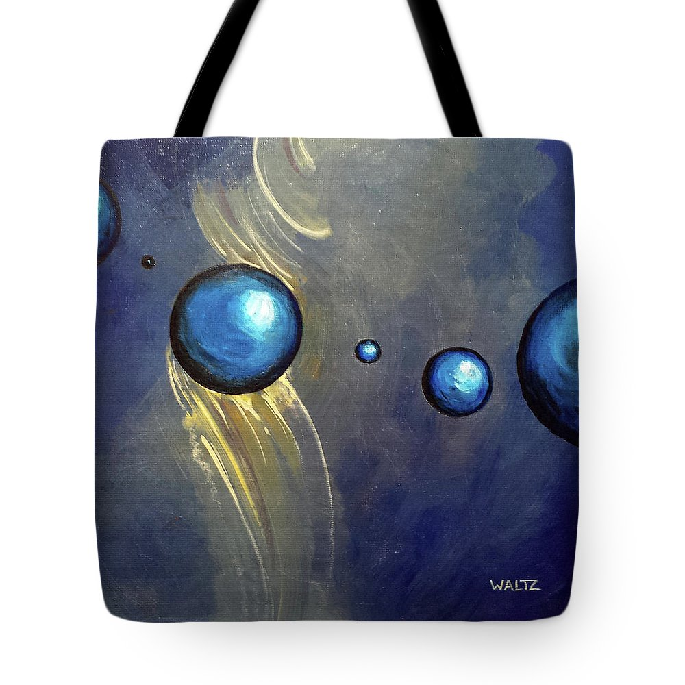 Abstract Ball Sphere Energy Blue Yellow Tote Bag featuring the painting Formant Glide by Beth Waltz