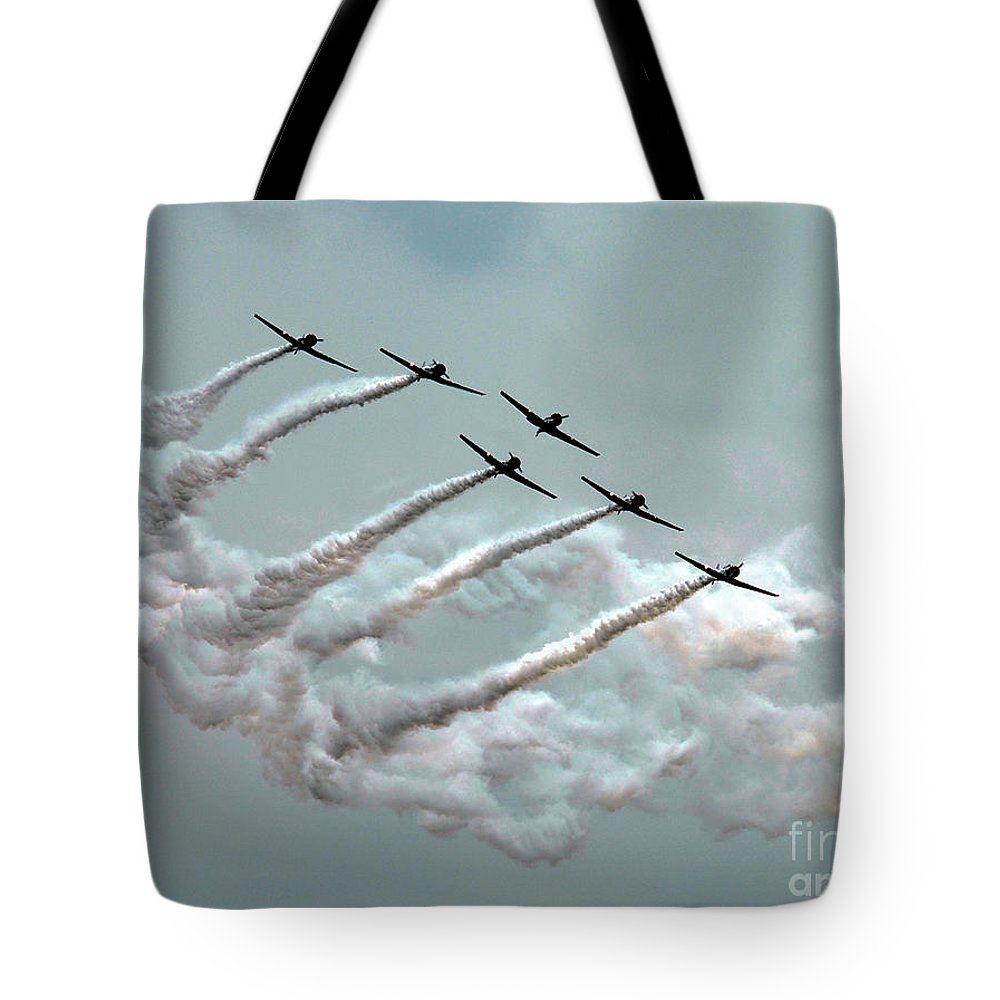 Bradley Tote Bag featuring the photograph Formation Fly By by Rich Despins
