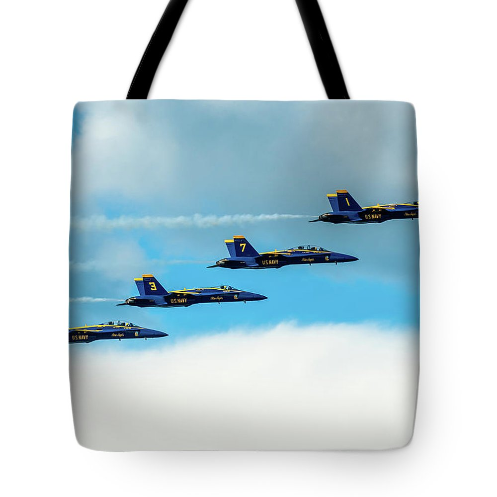 Aircraft Tote Bag featuring the pyrography Formation Of Blue Angels by Javier Flores