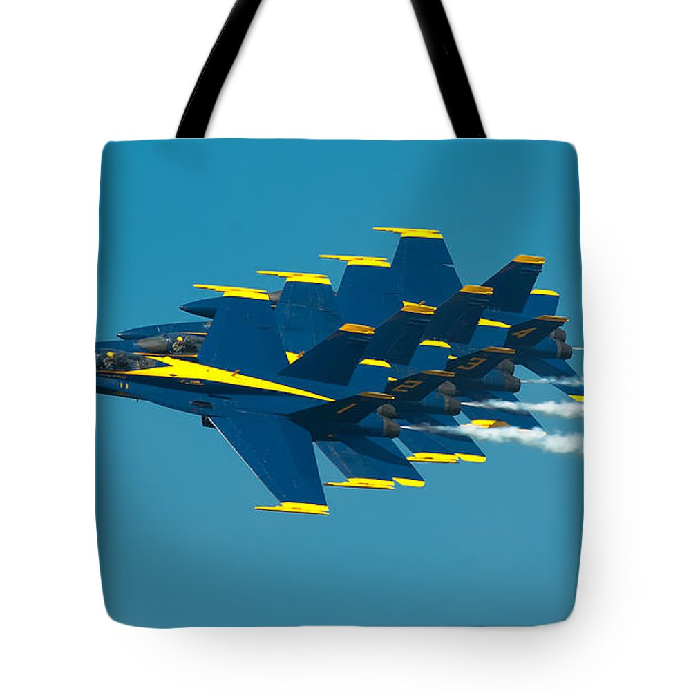 Us Navy Tote Bag featuring the photograph Formation by Sebastian Musial
