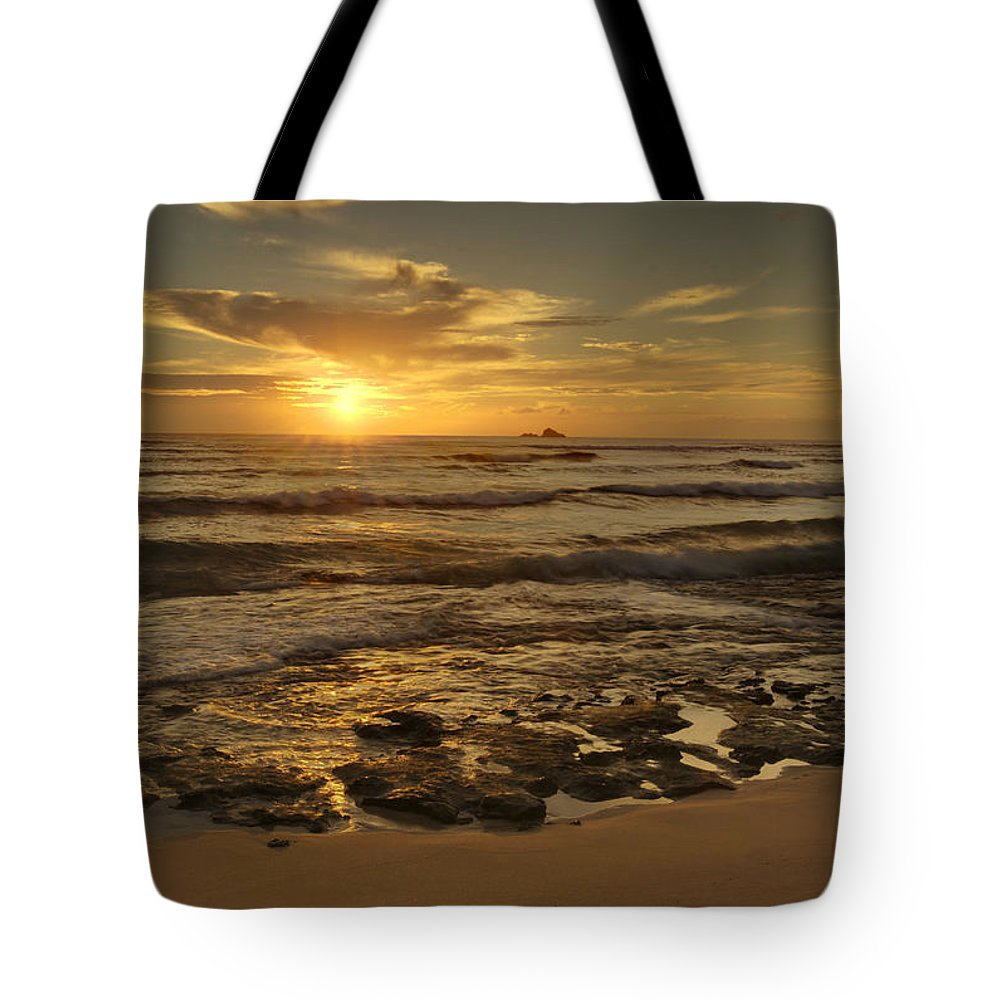 Landscape Tote Bag featuring the photograph Fort Haze Beach by Michael Peychich