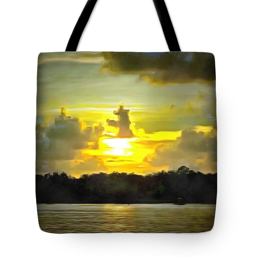 Tote Bag featuring the photograph Fort Island Trail Sunset by Mario Carta