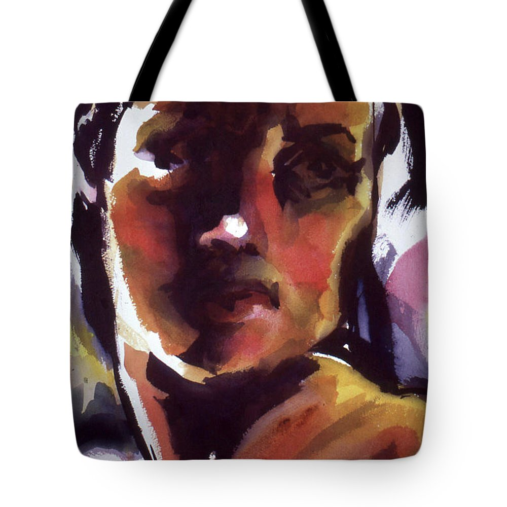 Watercolor Tote Bag featuring the painting Fortitude by Lance Miyamoto