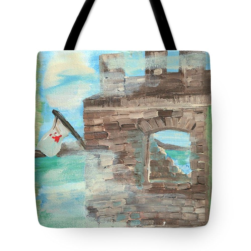 Castle Tote Bag featuring the painting Fortress For My Son by Rosalie Garde