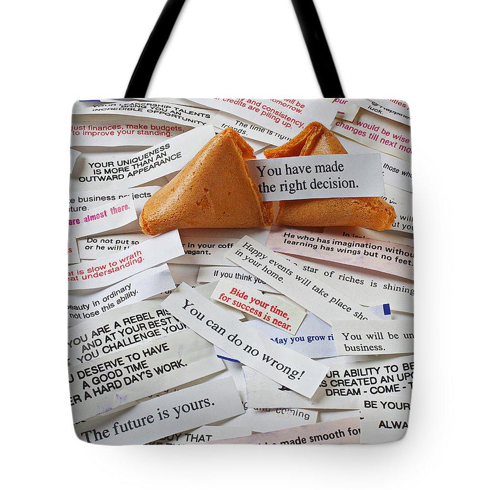 Fortune Cookie Sayings Words Tote Bag featuring the photograph Fortune Cookie Sayings by Garry Gay