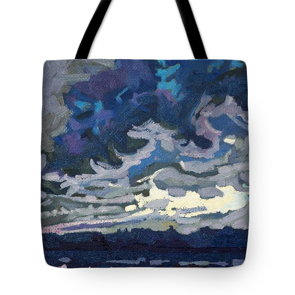 Shelf Tote Bag featuring the painting Forward Flank Rain by Phil Chadwick