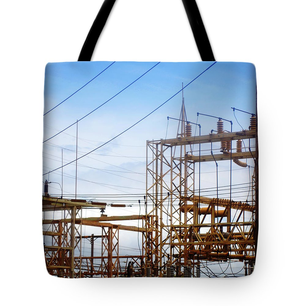 Power Lines Tote Bag featuring the photograph Fossil Power by Jill Reger