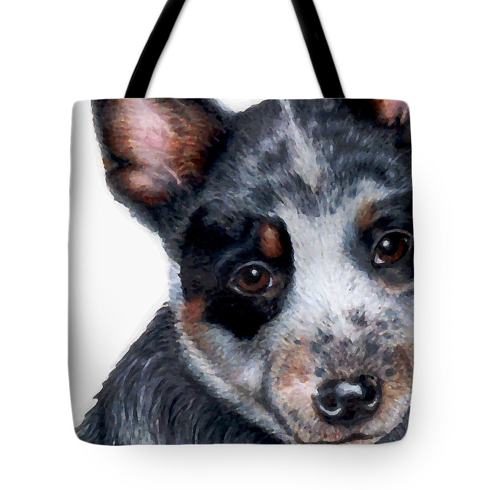 Australian Cattle Dog Tote Bag featuring the drawing Foster Detail by Kristen Wesch