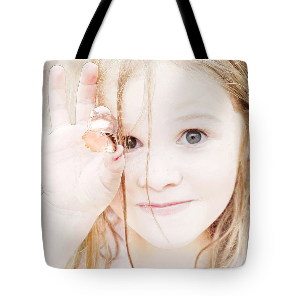 Girl Tote Bag featuring the photograph Found A Seashell by Francesa Miller
