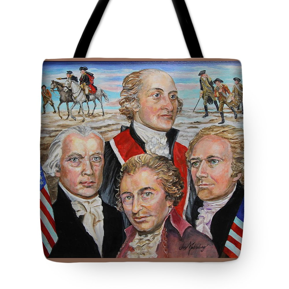 6e8c3712351bbd Portraits Of John Jay Tote Bag featuring the painting Founding Fathers Jay  Madison Paine And Hamilton