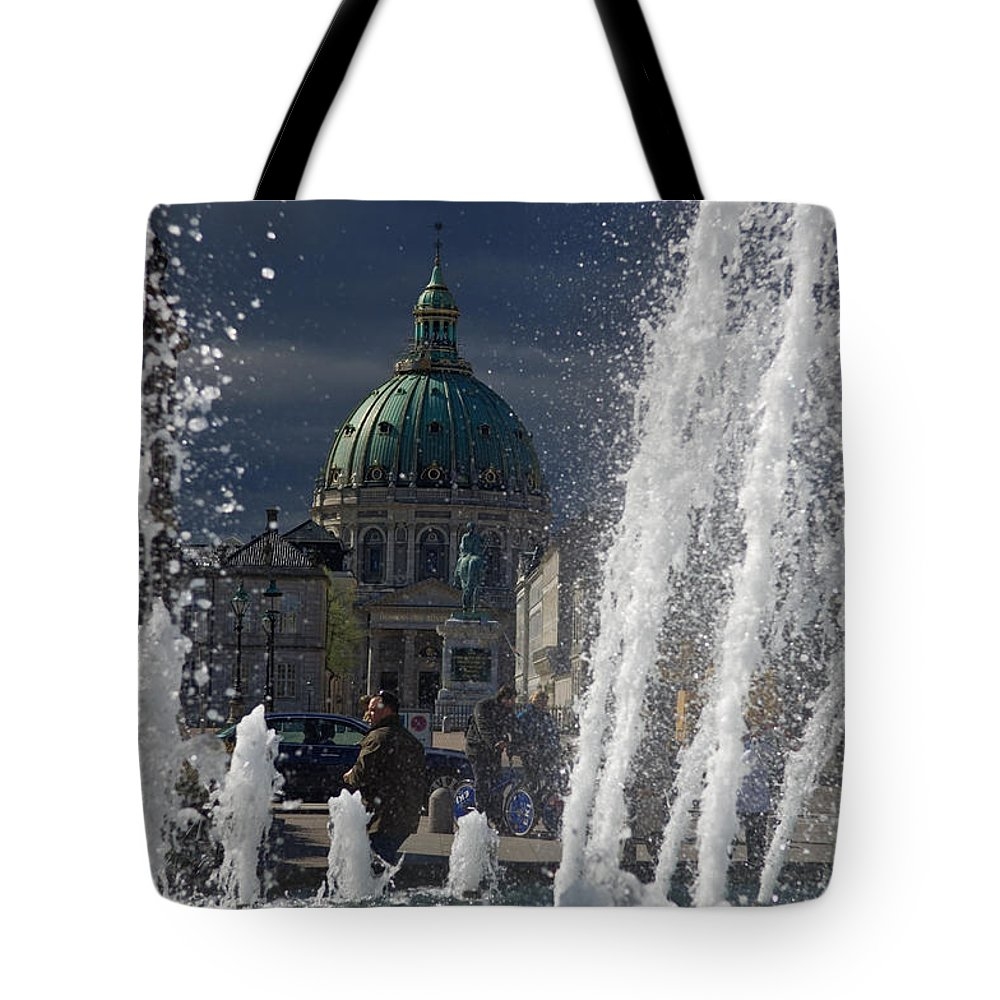 Fountain Tote Bag featuring the photograph Fountain At Amalie Garden Next by Keenpress