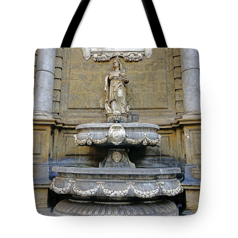 Palermo Tote Bag featuring the photograph Fountain At Quattro Canti In Palermo Sicily by Richard Rosenshein