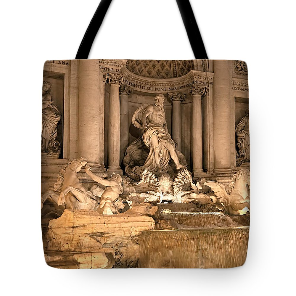 Italy Tote Bag featuring the photograph Fountain Lights by Janet Fikar