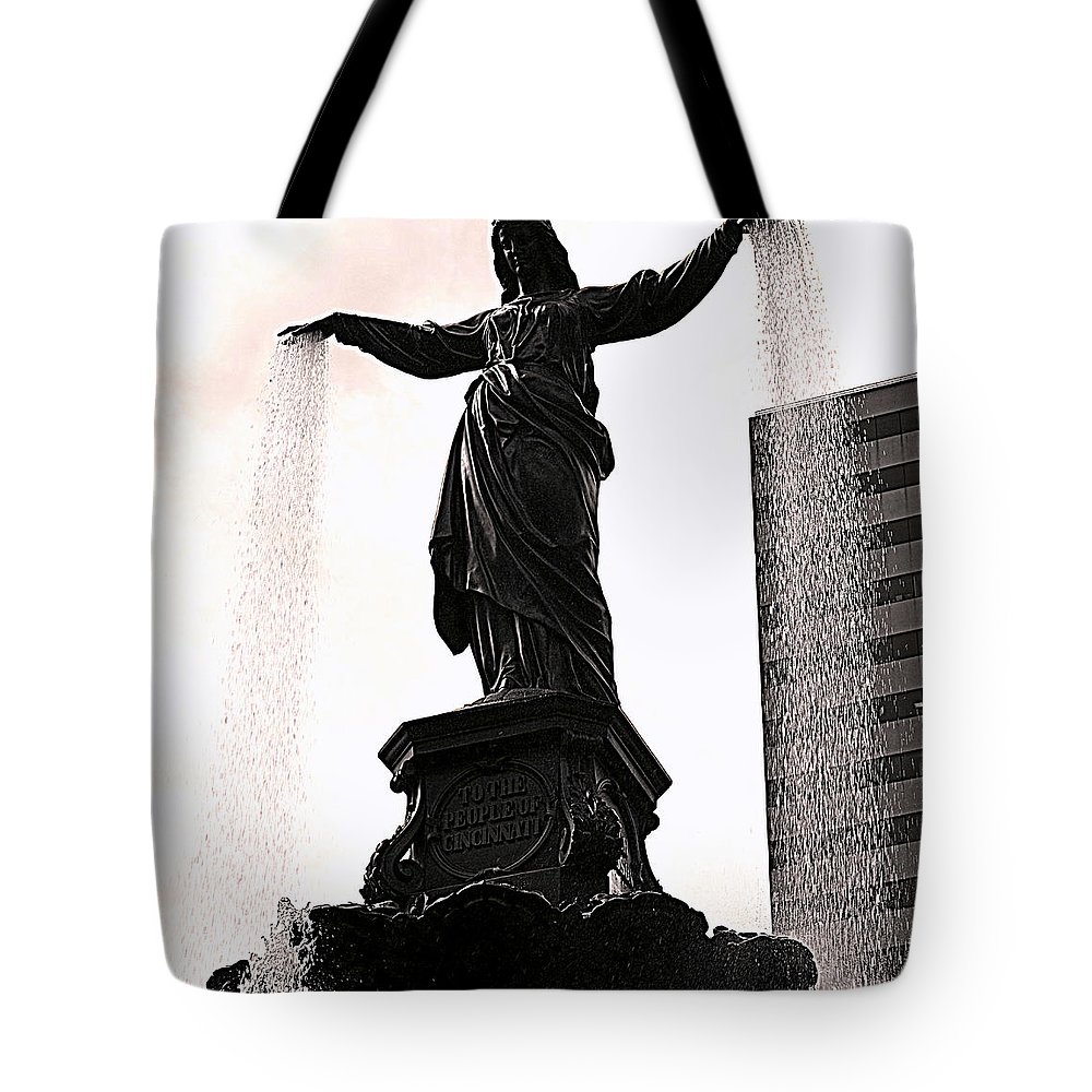 Statue Tote Bag featuring the photograph Fountain Square Lady by Kathy Barney