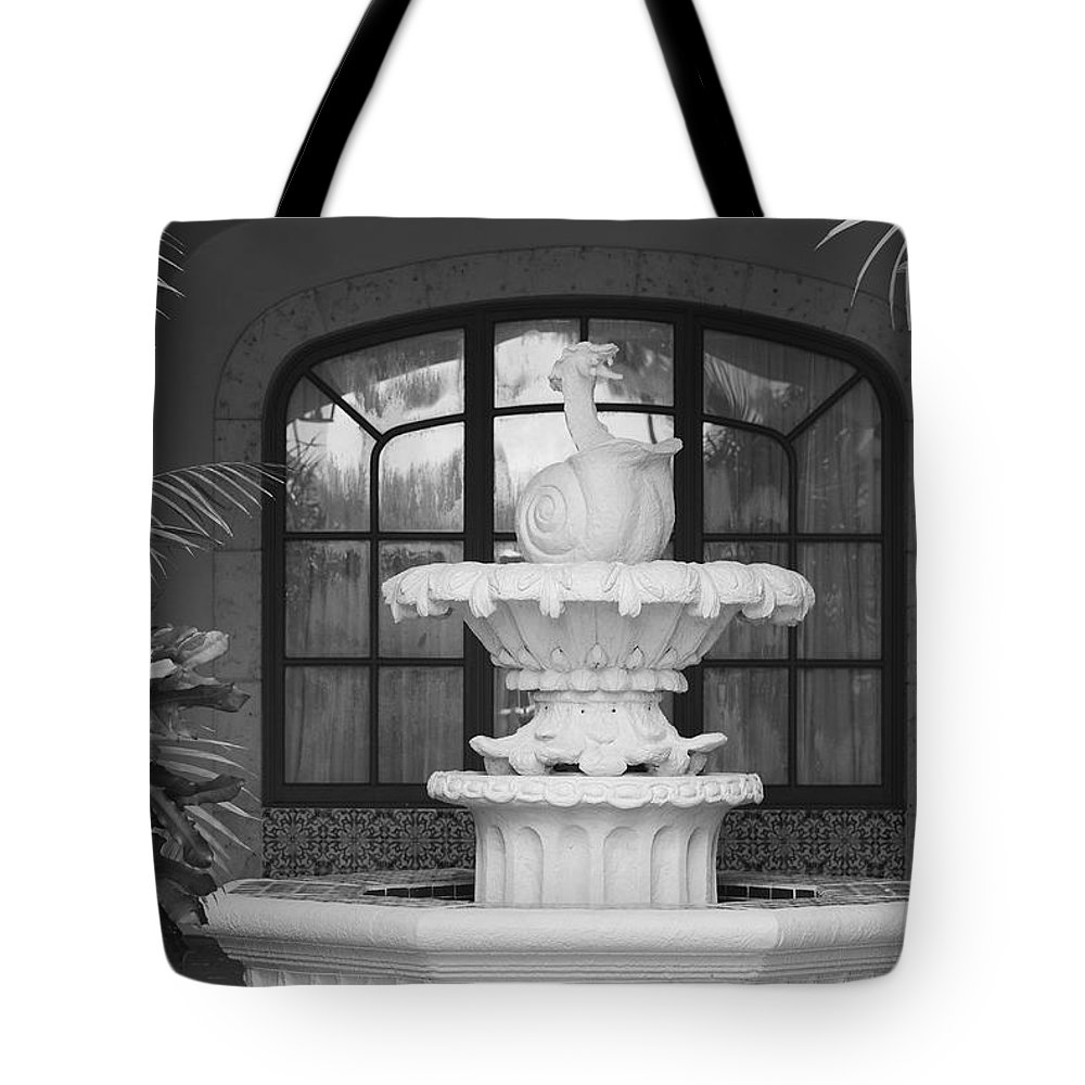 Architecture Tote Bag featuring the photograph Fountian And Window by Rob Hans