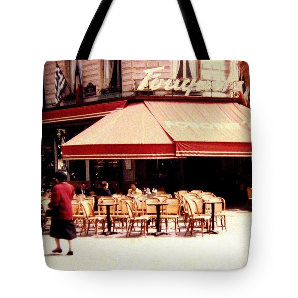1955 Tote Bag featuring the photograph Fouquets Of Paris 1955 by Will Borden