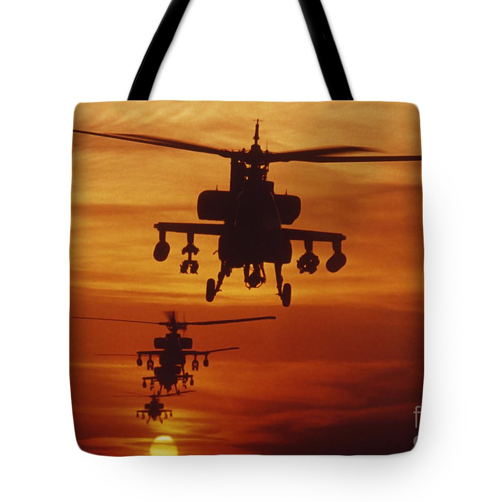 Sky Tote Bag featuring the photograph Four Ah-64 Apache Anti-armor by Stocktrek Images