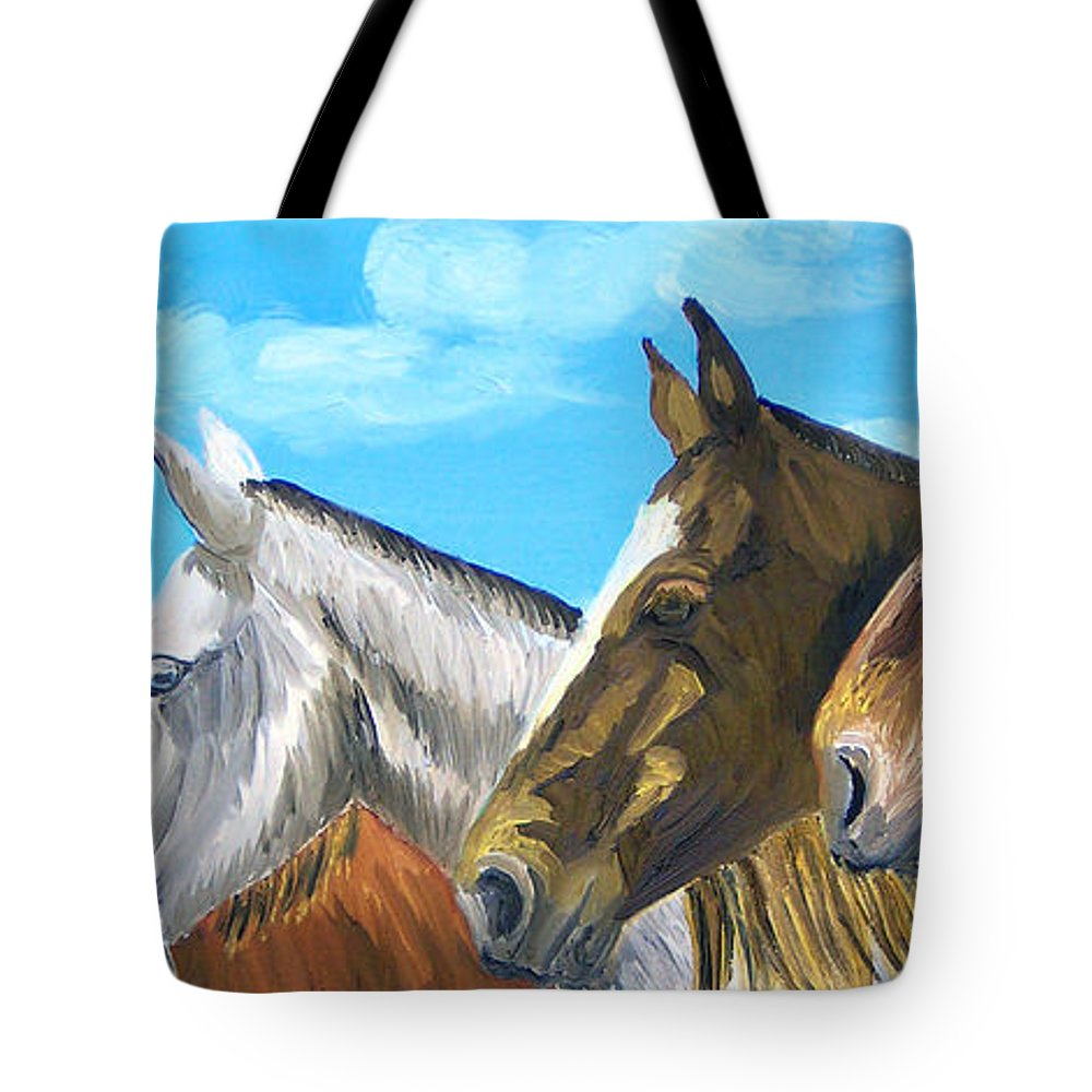 Horses Tote Bag featuring the painting Four Amigos by Michael Lee