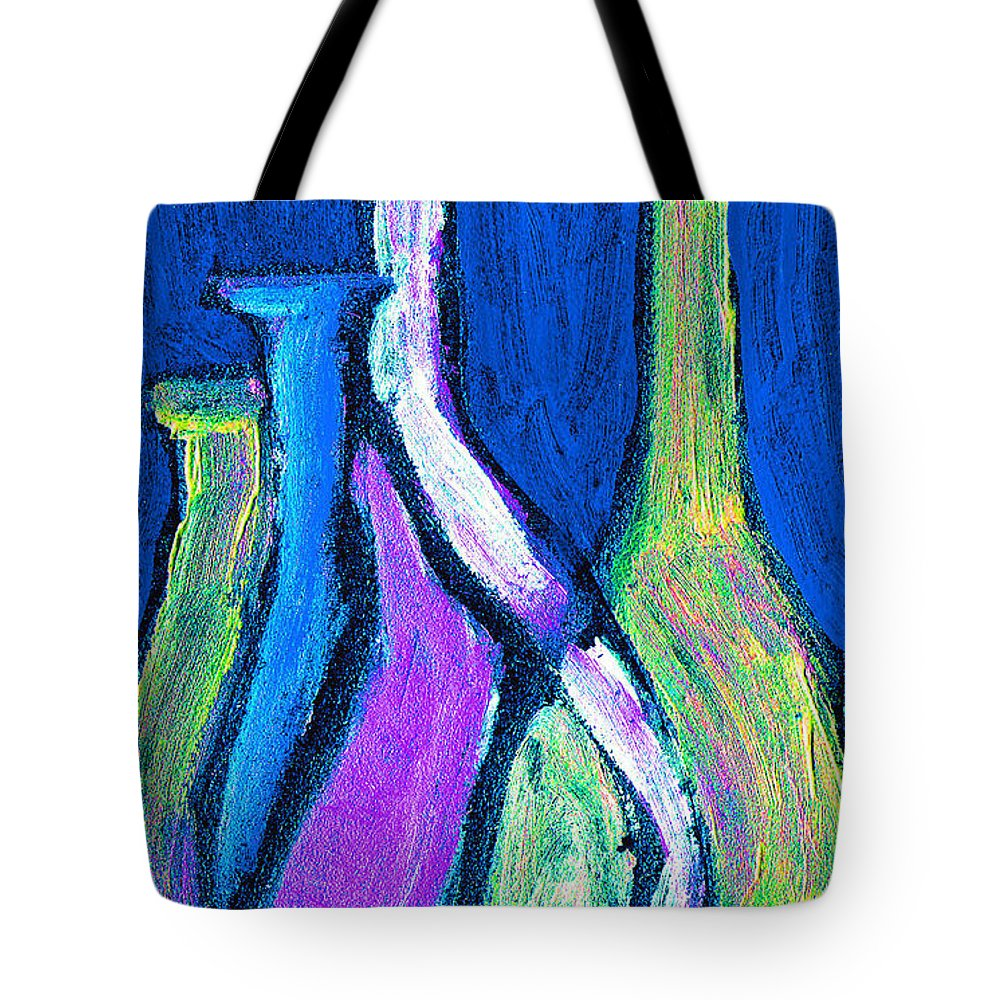 Abstract Tote Bag featuring the painting Four Bottle Abstract by Wayne Potrafka