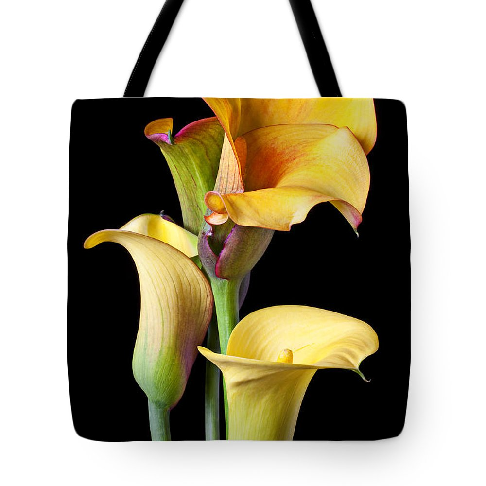 Calla Lily Tote Bag featuring the photograph Four Calla Lilies by Garry Gay