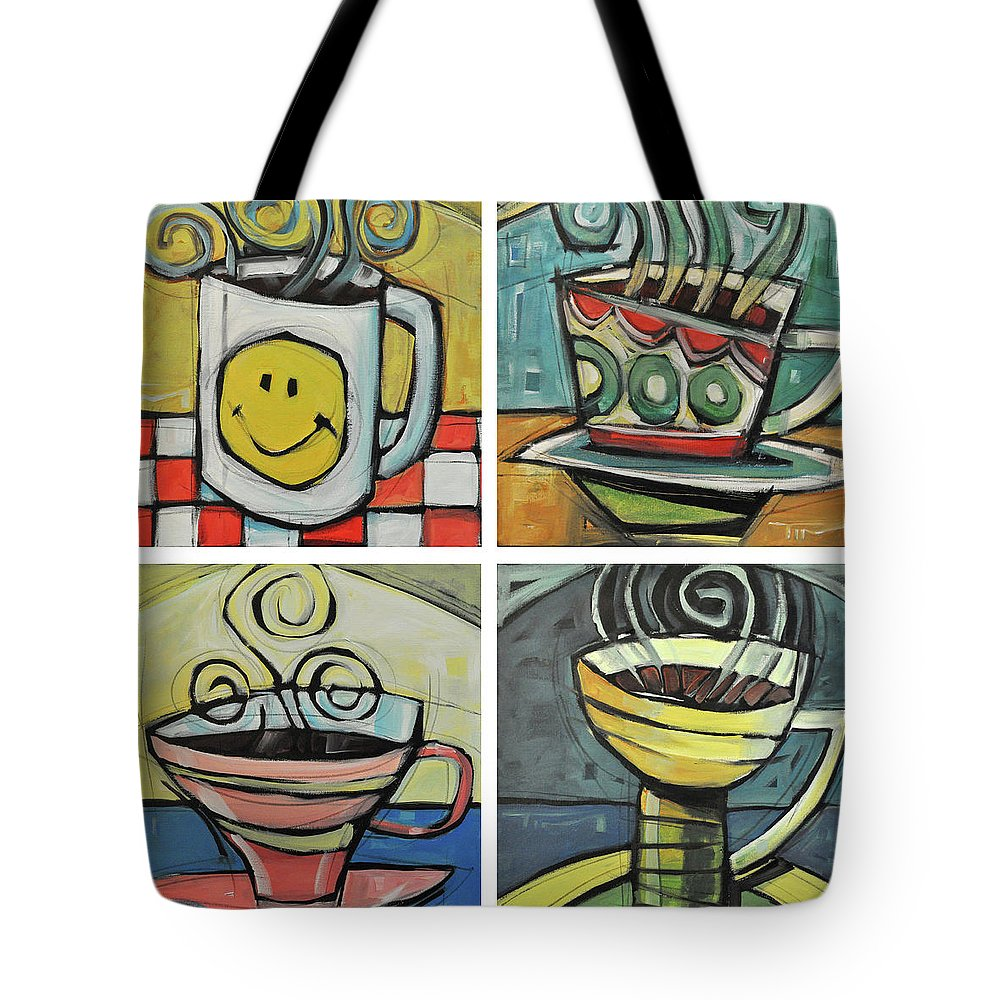 Coffee Tote Bag featuring the painting Four Cups Of Coffee by Tim Nyberg