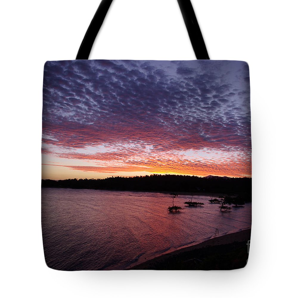 Landscape Tote Bag featuring the photograph Four Elements Sunset Sequence 1 Coconuts Qld by Kerryn Madsen - Pietsch