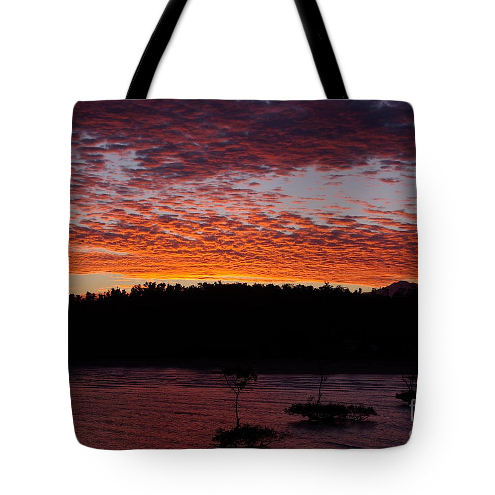 Landscape Tote Bag featuring the photograph Four Elements Sunset Sequence 2 Coconuts Qld by Kerryn Madsen - Pietsch