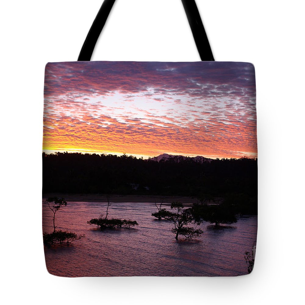 Landscape Tote Bag featuring the photograph Four Elements Sunset Sequence 3 Coconuts Qld by Kerryn Madsen - Pietsch