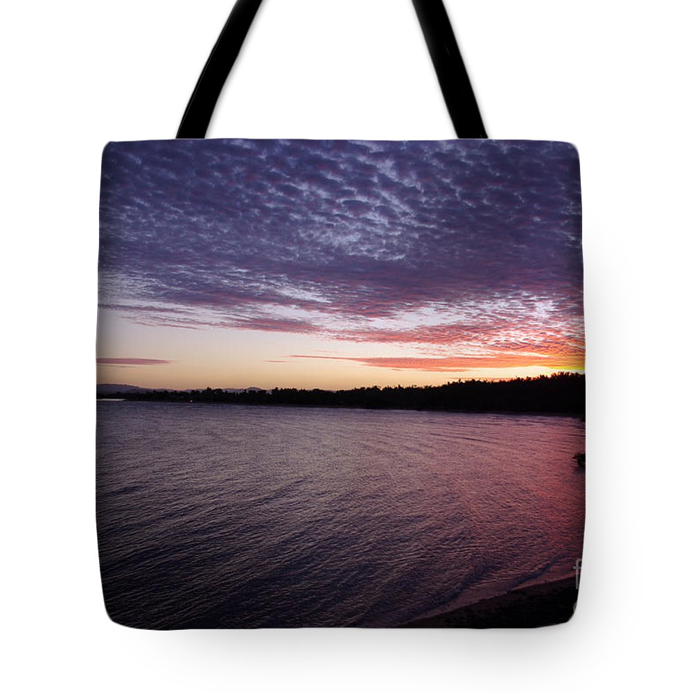 Landscape Tote Bag featuring the photograph Four Elements Sunset Sequence 4 Coconuts Qld by Kerryn Madsen- Pietsch