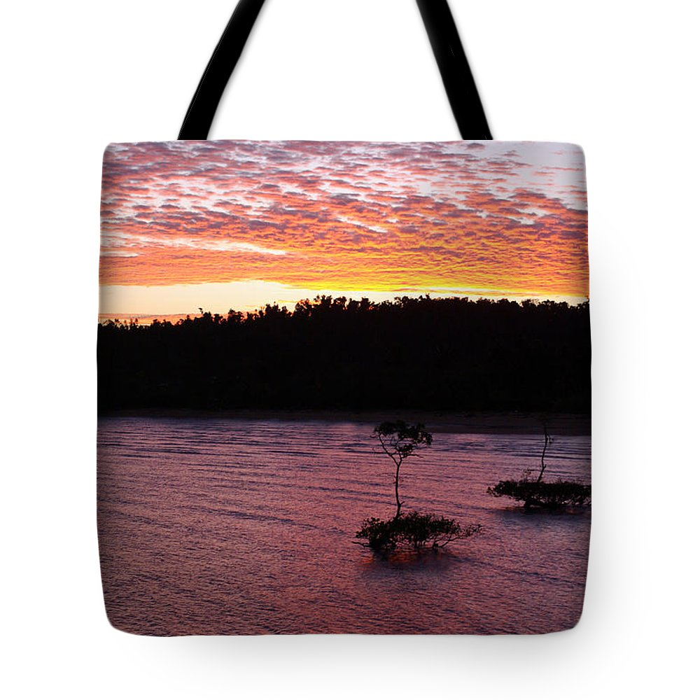Landscape Tote Bag featuring the photograph Four Elements Sunset Sequence 5 Coconuts Qld by Kerryn Madsen - Pietsch