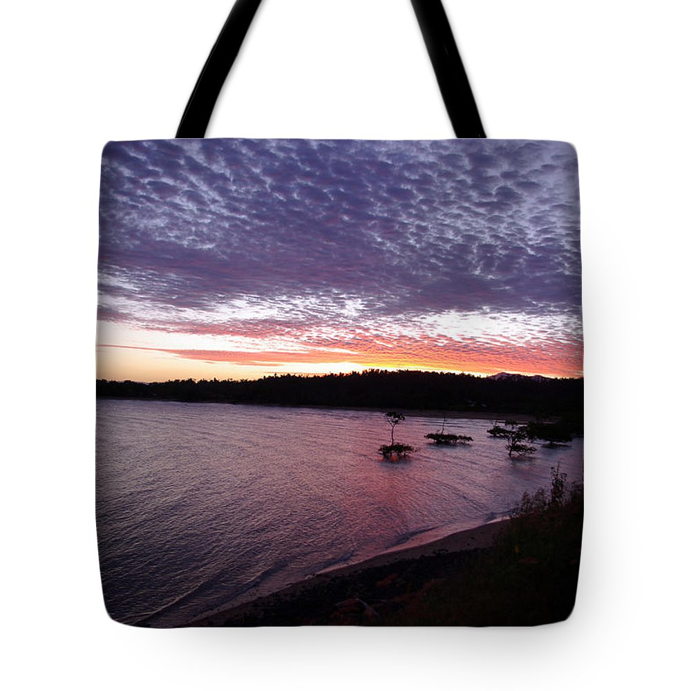 Landscape Tote Bag featuring the photograph Four Elements Sunset Sequence 6 Coconuts Qld by Kerryn Madsen-Pietsch