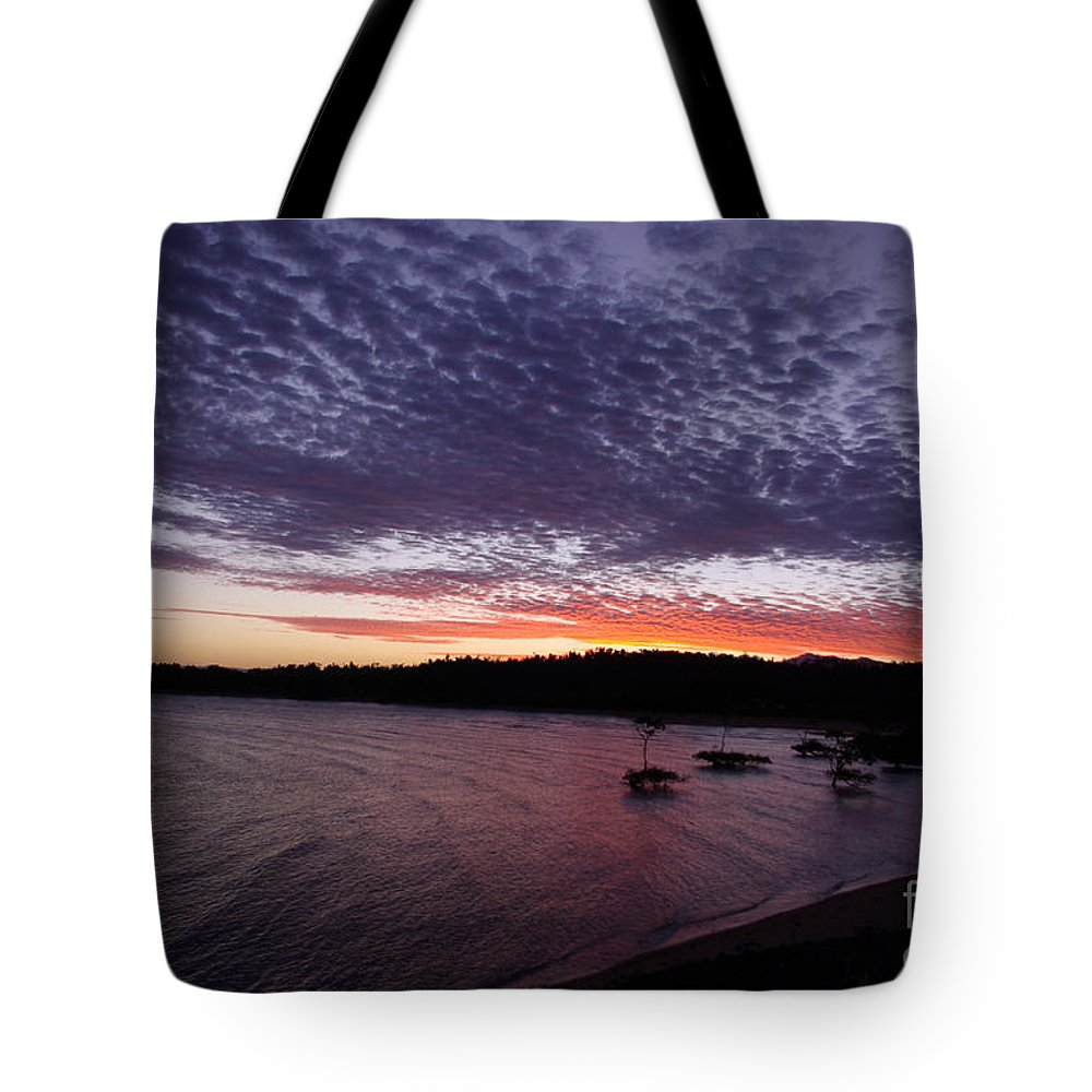 Landscape Tote Bag featuring the photograph Four Elements Sunset Sequence 7 Coconuts Qld by Kerryn Madsen - Pietsch