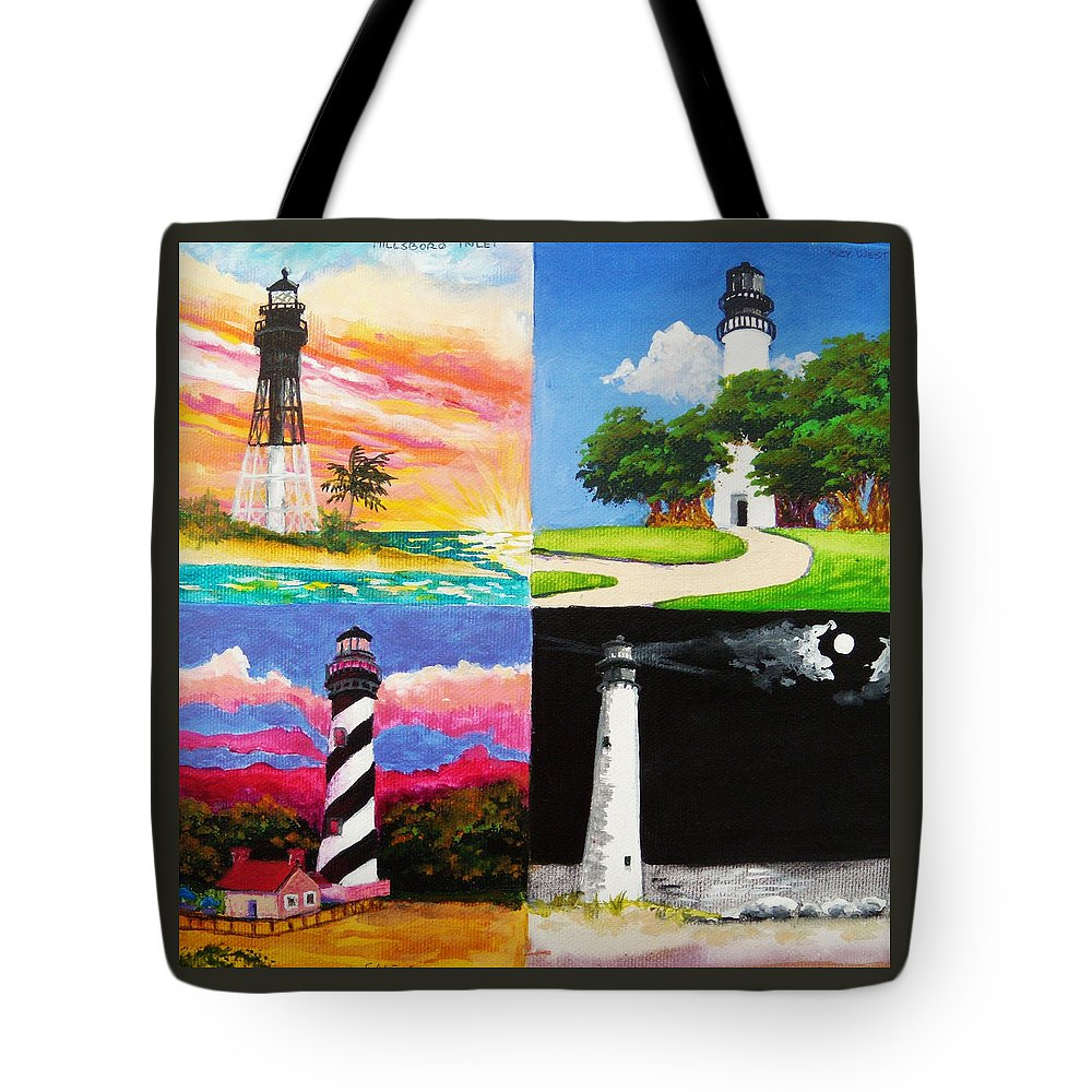 Lighthouses Tote Bag featuring the painting Four Florida Lighthouses by Anne Marie Brown