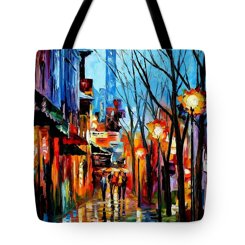 Afremov Tote Bag featuring the painting Four Friends by Leonid Afremov