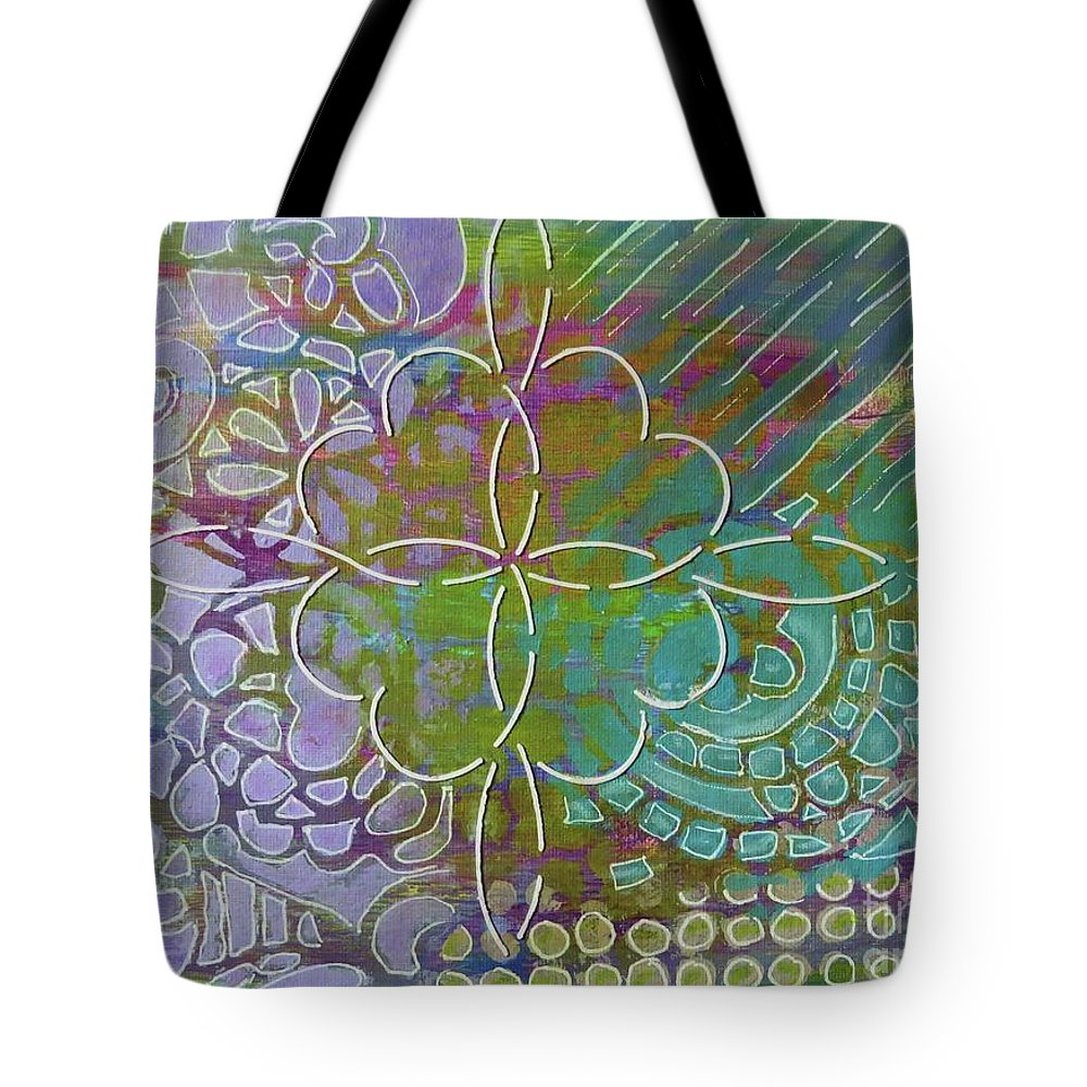 Contemporary Art Tote Bag featuring the mixed media Four Hearts Intertwined by Desiree Paquette