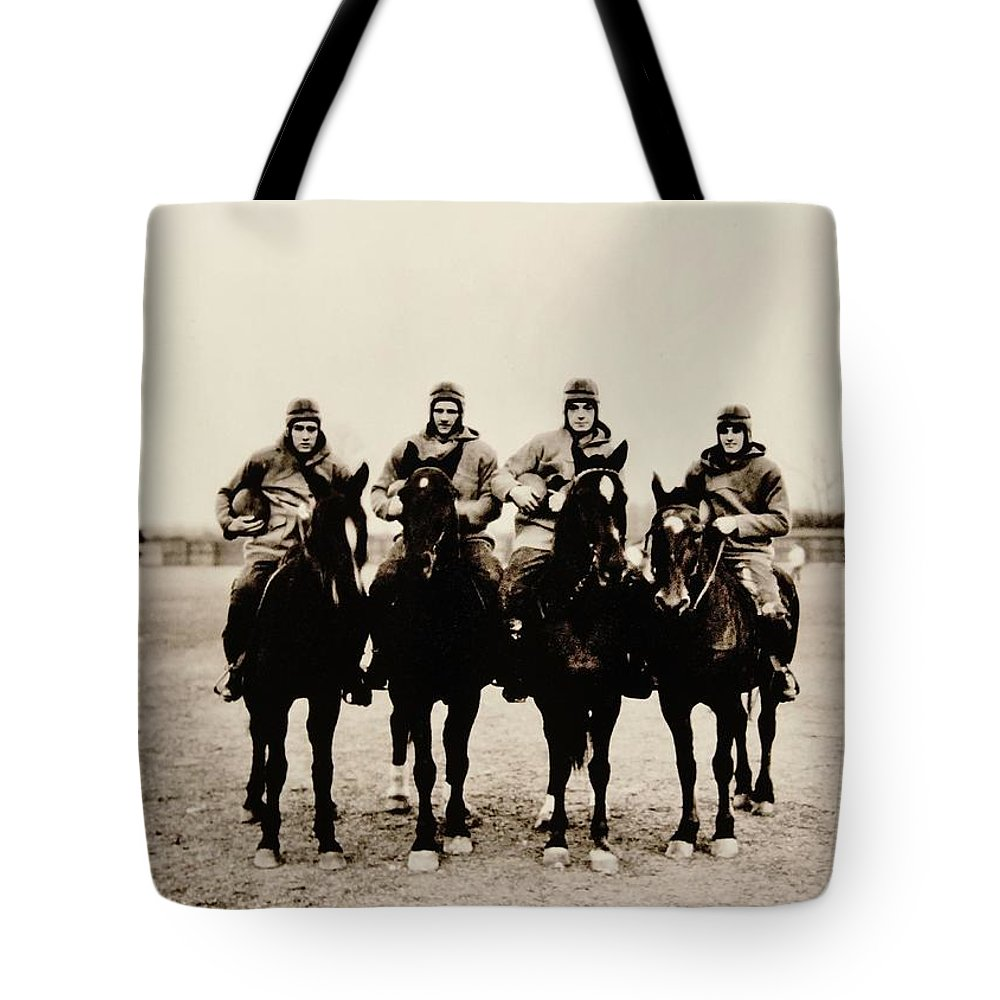 Notre Dame Tote Bag featuring the photograph Four Horsemen by Benjamin Yeager