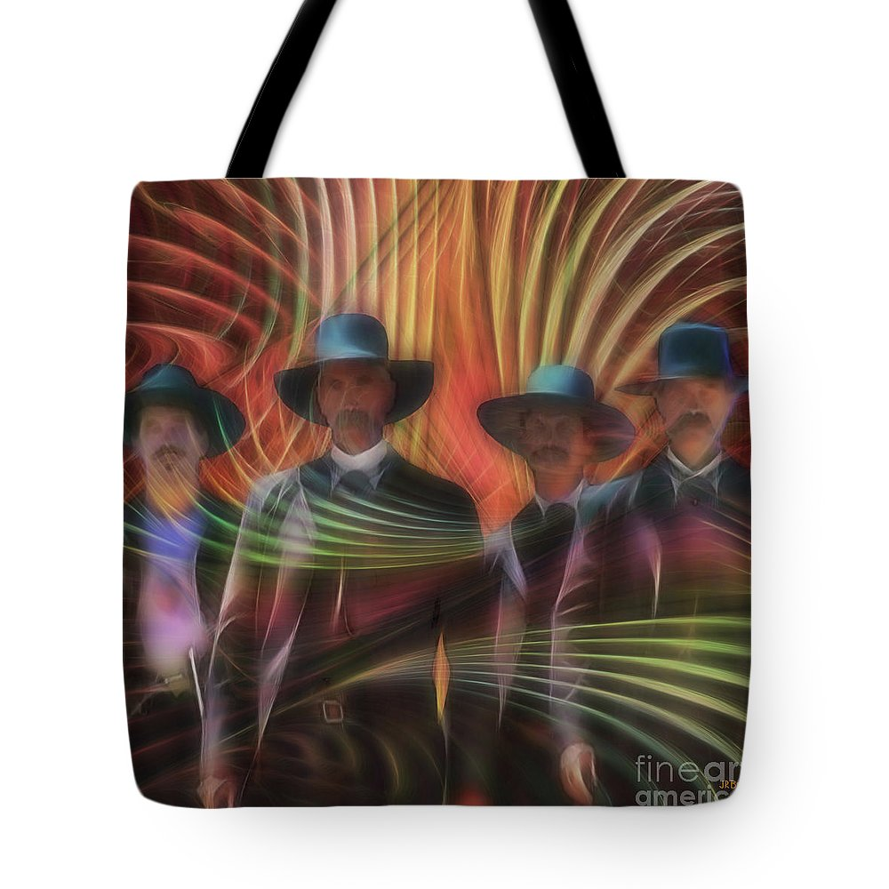 Tombstone Tote Bag featuring the digital art Four Horsemen - Square Version by John Beck