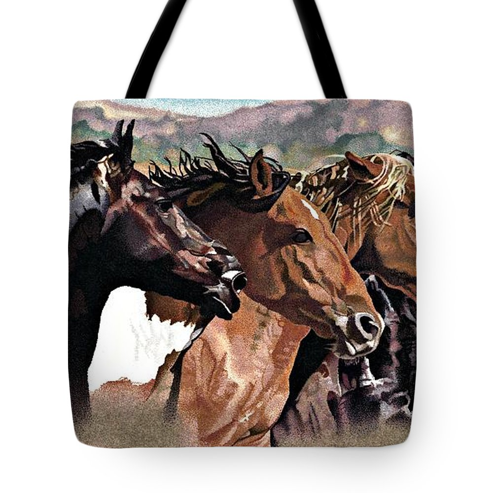 Animals Tote Bag featuring the drawing Four Horses by Judy Skaltsounis