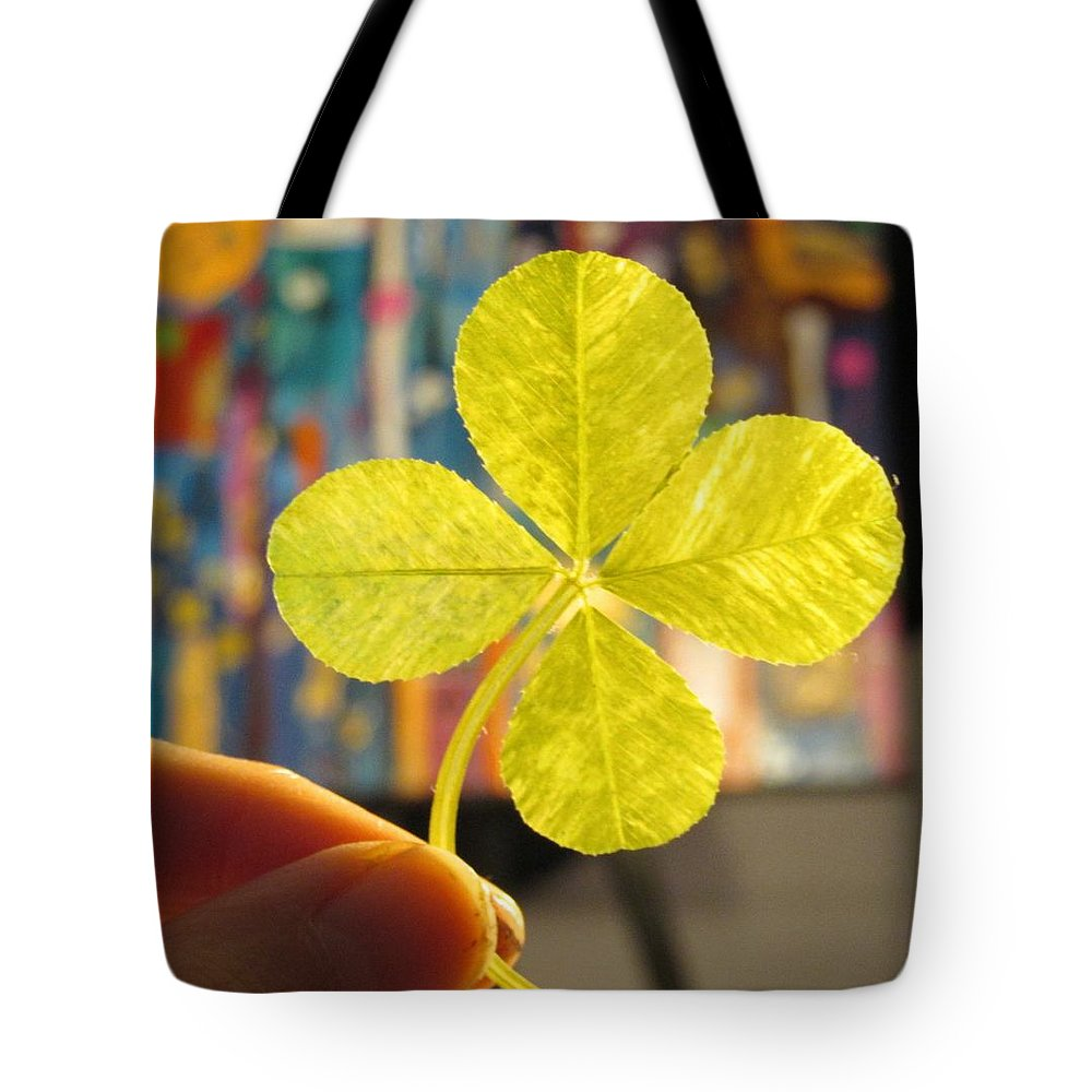 Four Leaf Clover Tote Bag featuring the mixed media Four Leaf Clover In Studio 2 by Julia Jacquez