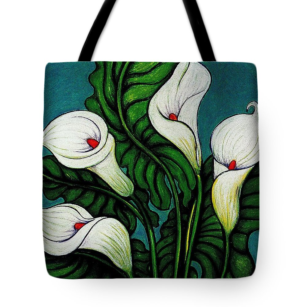 White Lilies Tote Bag featuring the pastel Four Long Lilies by Richard Lee