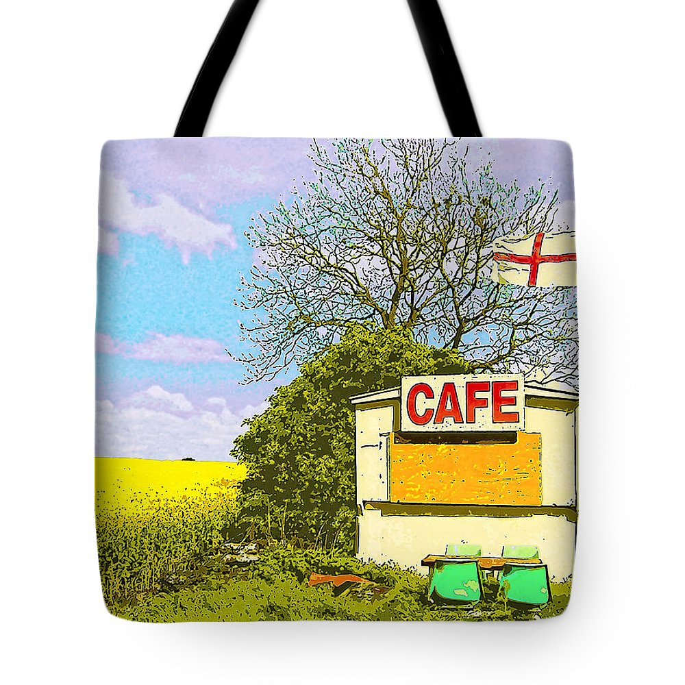Four On The Patio Tote Bag featuring the mixed media Four On The Patio by Dominic Piperata