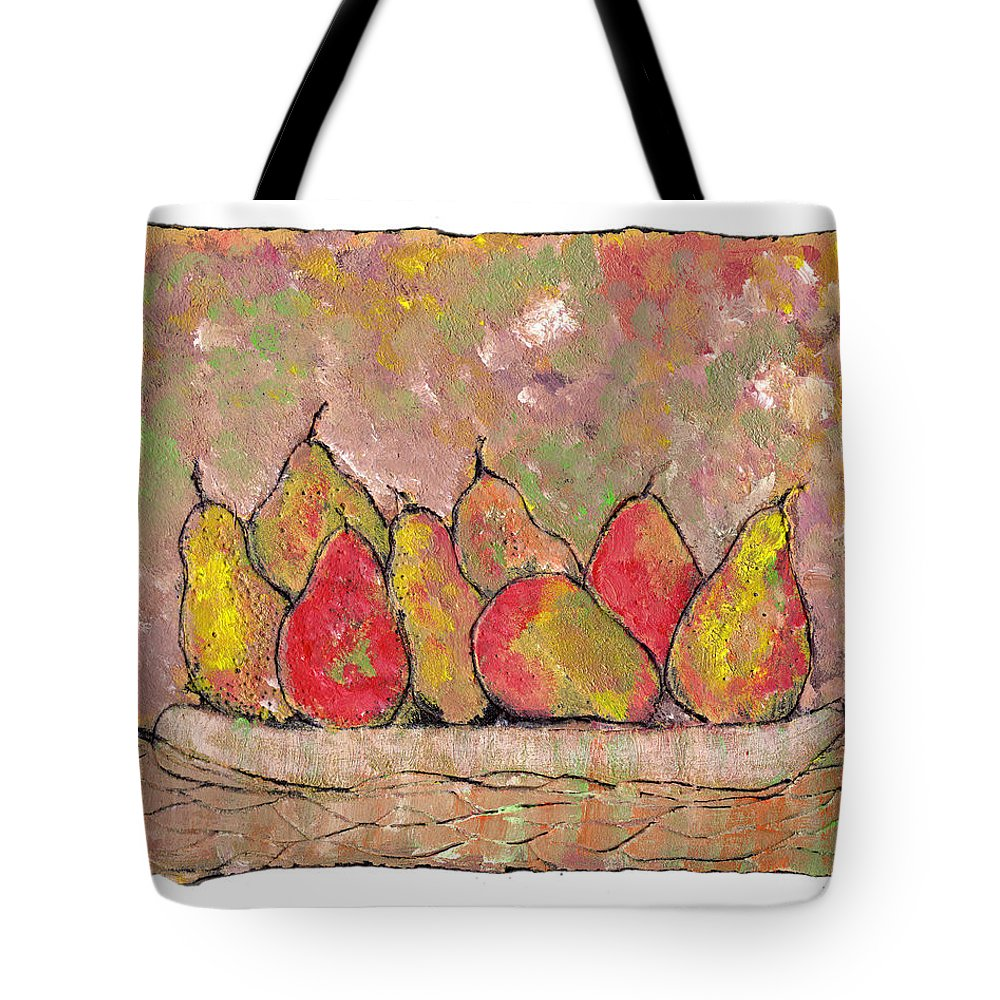 Pears Tote Bag featuring the painting Four Pair Of Pears by Wayne Potrafka