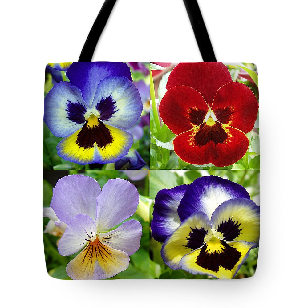 Pansy Tote Bag featuring the photograph Four Pansies by Nancy Mueller