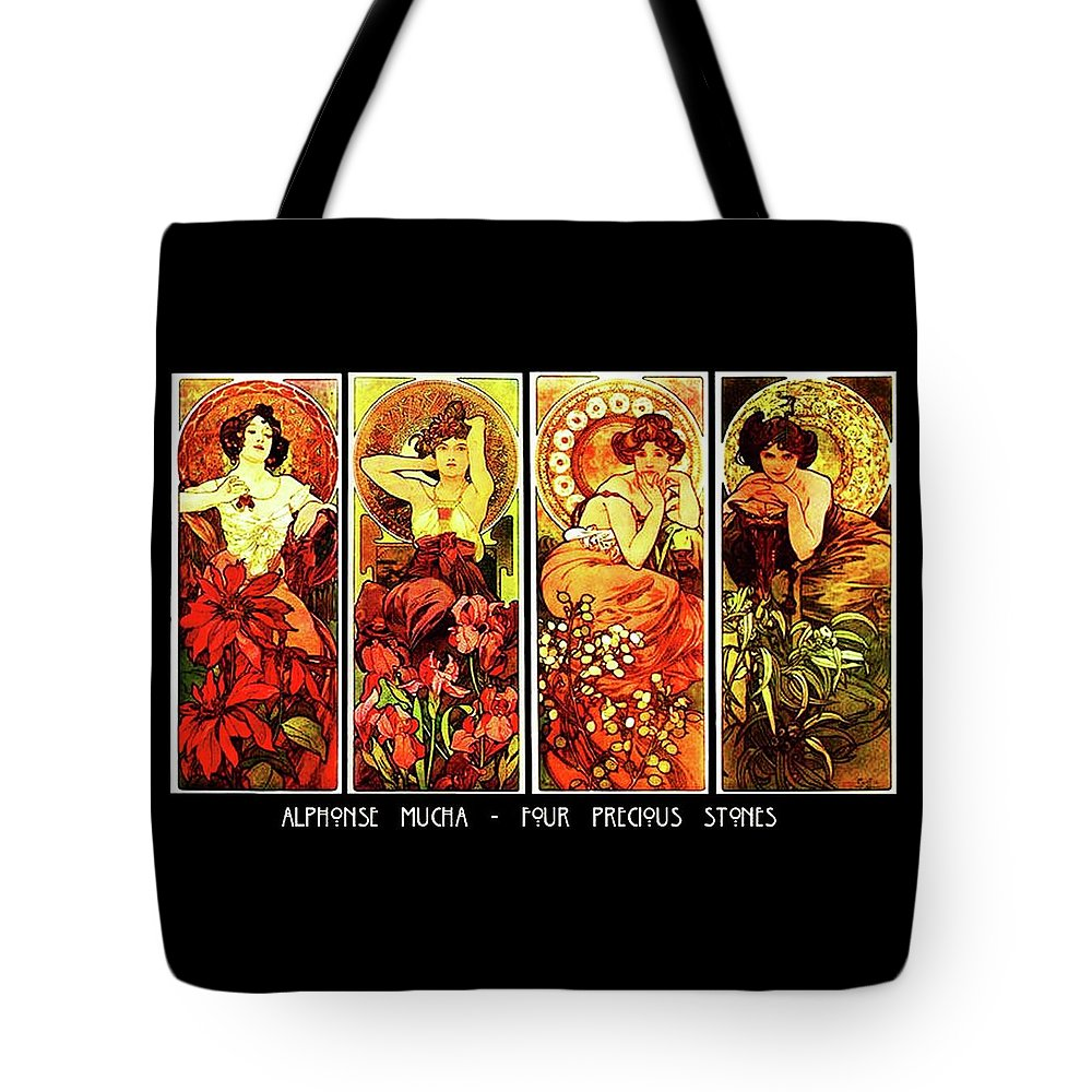 8d1afed4270 Alphonse Tote Bag featuring the painting Four Precious Stones by Alphonse  Mucha