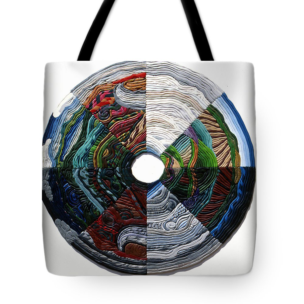 Mandala Tote Bag featuring the relief Four Seasons - Day And Night by Arla Patch