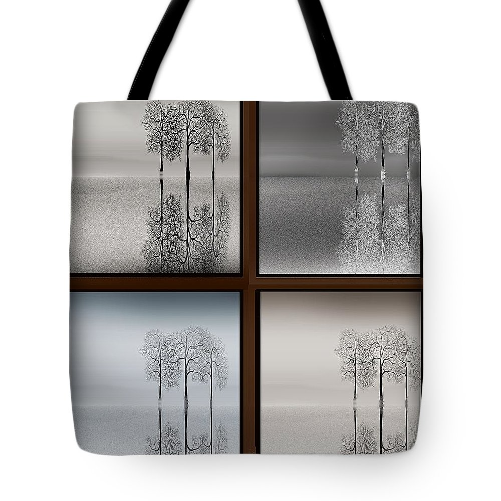 Trees Seasons Winter Spring Summer Fall Sky Water Reflection Tote Bag featuring the digital art Four Seasons by Tony Kroll