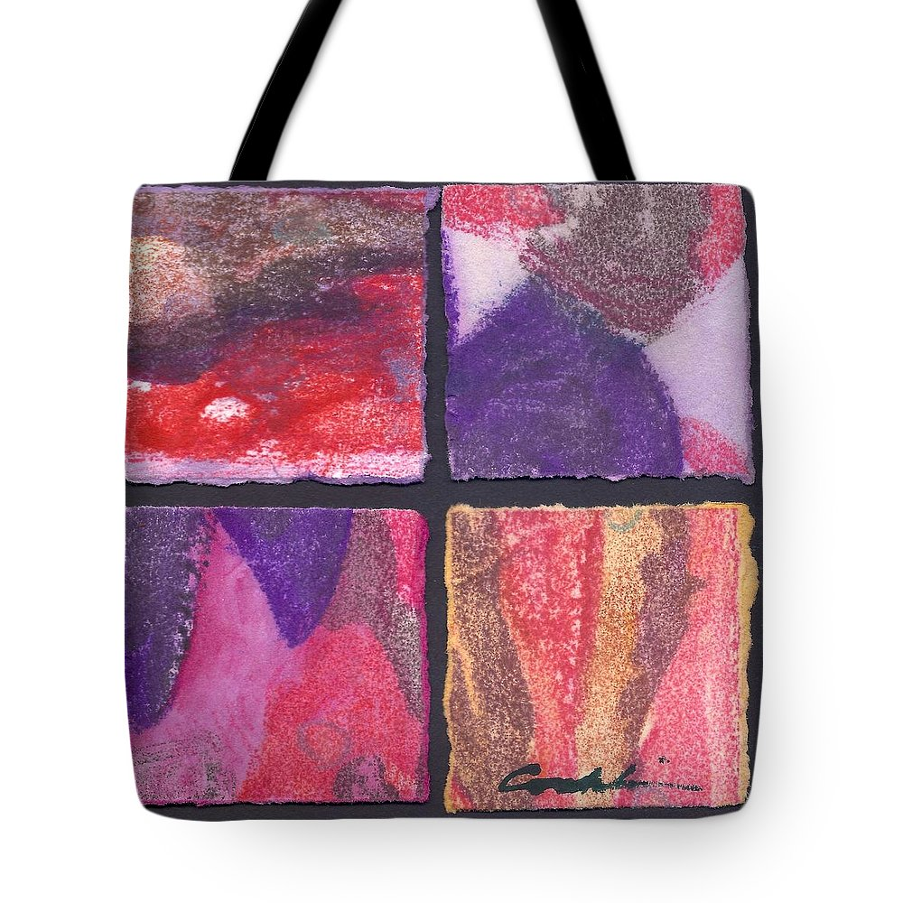 Non-objective Tote Bag featuring the mixed media Four Squares Purple, Red, Brown, Lavender by Cynthia Conklin